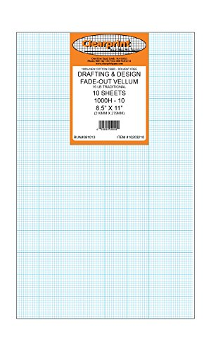 Clearprint 1000H Design Vellum Sheets with Printed Fade-Out 10x10 Grid, 16 Lb, 100% Cotton, 8-1/2 x 11 Inches, 10 Sheets Per Pack, 1 Each (10203210) by Clearprint