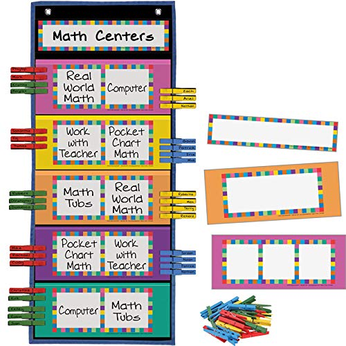 Really Good Stuff Programmable Clip 'N' Track Pocket Chart, 12'' by 28'' - Track Classroom Activities, Behavior, Student Progress - Customize Blank Cards - Grommets, Magnetic Strip for Easy Hanging by Really Good Stuff