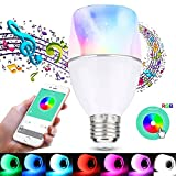 ROKOO Bluetooth Speaker Light Bulb, Smart LED Music Bulb Wireless Bluetooth 4.0 Smartphone App Controlled E26/E27 Base RGBW Color Changing Light Bulb Dimmable