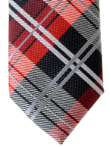 Tartan Tie Red Woven Retreez Check Elegant and Various Microfiber Skinny Plaid Black Colors qfwnC5px0S