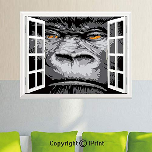- Open Window Wall Decal Sticker,Close Up Gorilla Portrait with Orange Eyes Zoo Jungle Animal Wild Money Graphic,35.4X 23.6inch,Removable Wall StickerGrey Marigold