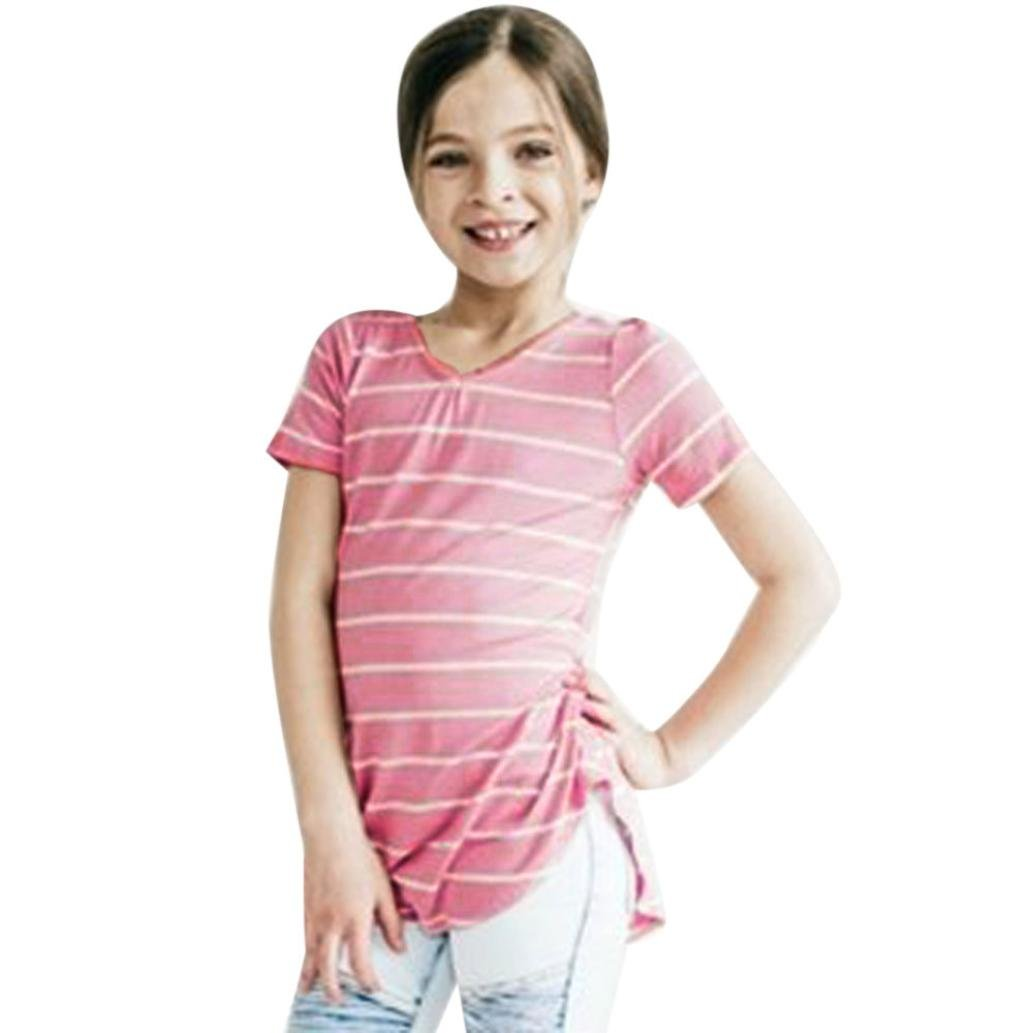 GBSELL Kids Girl Stripe Cotton Short Sleeve Tops T-Shirt Blouse