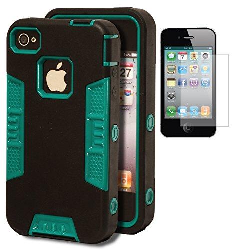 iPhone 4 Motif robot Bastex Coque résistante hybride caoutchoutée noire avec Insert bleu sarcelle rigide pour Apple iPhone 4/4 g/4s/4gs ****Film de protection d'écran