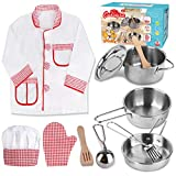 Kids Play Kitchen Set -Chef Costume Stainless Steel Kitchen Accessories Pretend Play Cookware Toy Pots and Pans for 3 4 5 6 7 8 Year Old Boys Girls