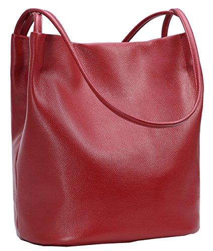 Logo Soft Leather - Iswee Leather Shoulder Bag Bucket Bag Hobo Lady Handbag and Purse Fashion Tote for Women (Wine)