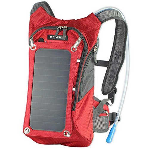 ECEEN Mochila de Senderismo, 7 Paredes Panel Solar Carga para Smart Cell Teléfonos y Tablets, GPS, eReaders, Altavoces Bluetooth, GoPro Cámaras, Biker Pack Red with out Battery Pack