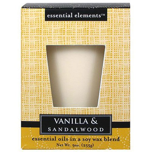 Candle-lite Essential Elements 9-Ounce Boxed Jar Candle with Soy Wax, Vanilla and Sandalwood