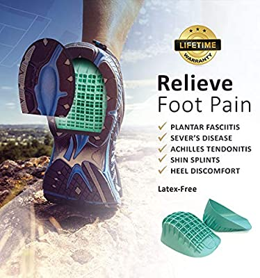 Tuli's Heavy Duty Heel Cups (2-Pairs), Green - Pro Heel Cup Shock Absorption and Cushion Inserts for Plantar Fasciitis, Sever's Disease and Heel Pain Relief, Small