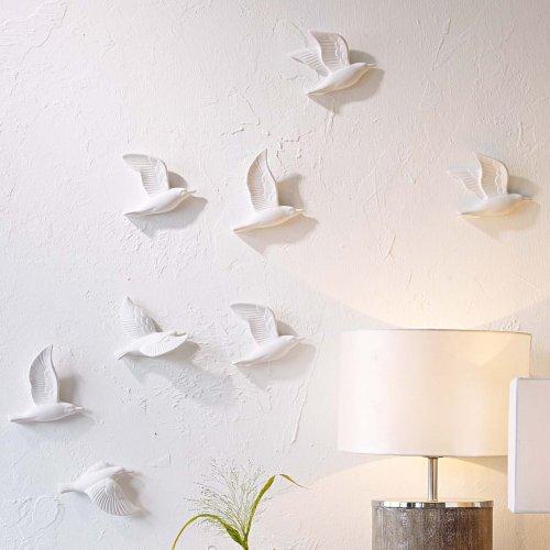 Wanddeko Möwen in 3D-Optik Keramik Weiß 5 Stück