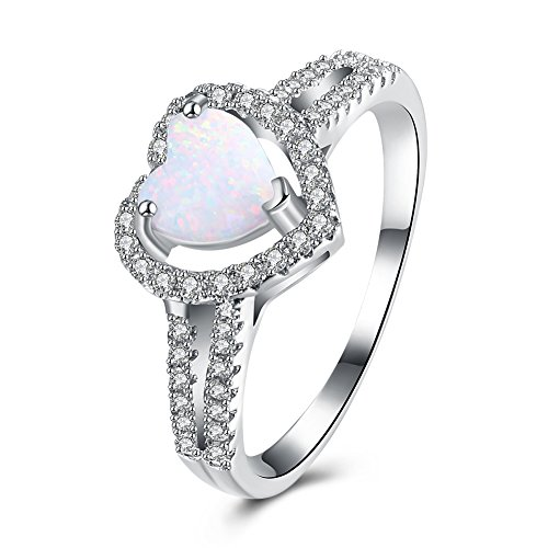 DreamSter Heart Opal Rings for Women Girls Promise Engagement Band Rings Plated 18K White Gold Pave with Clear Cubic Zirconia, (Pave Engagement 18k Ring)