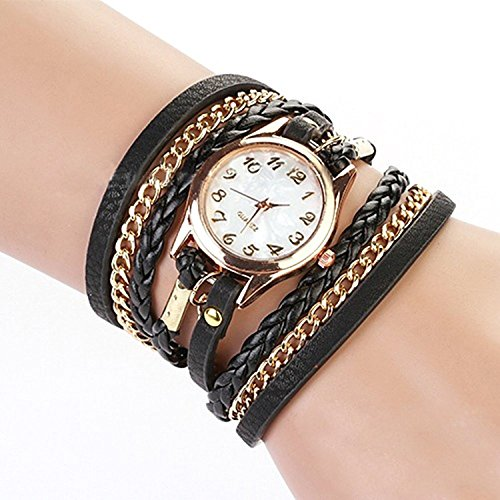 Charming Vintage Weave Wrap Leather Chain Bracelet Watch for Womens Ladies (Black)