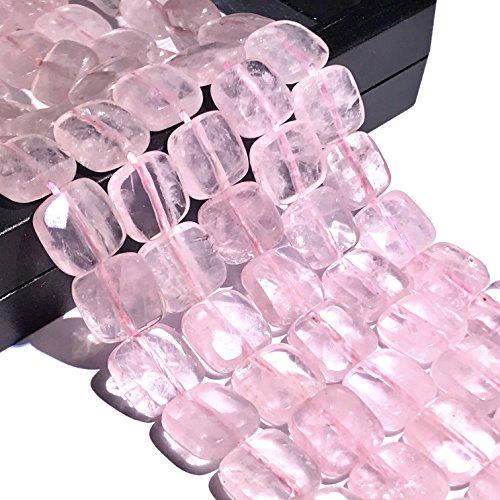 [ABCgems] Madagascan Rose Quartz (Beautiful Translucent) 10mm Faceted Square Beads