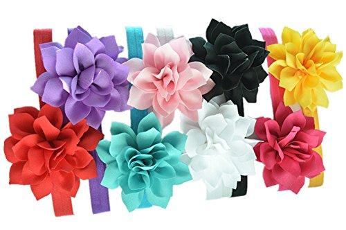 Feuille de Lotus Flower Bandeaux Qandsweet Baby Girl (de 8pack)