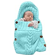 XMWEALTHY Newborn Baby Wrap Swaddle Blanket Knit Sleeping Bag Sleep Sack Stroller Wrap for Baby(Sky blue) (0-6 Month)
