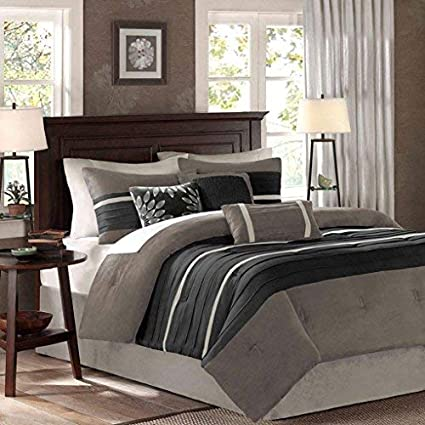 ba0b17edb33 Amazon.com  Madison Park Palmer 7 Piece Comforter Set Black Queen  Home    Kitchen