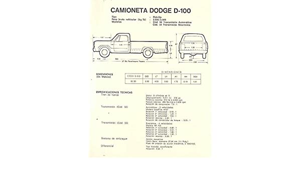 Amazon.com: 1970 Dodge D100 Pickup Truck Brochure Venezuela: Entertainment Collectibles