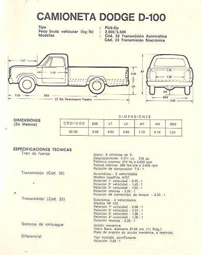 Amazon.com: 1970 Dodge D100 Pickup Truck Brochure Venezuela: Entertainment Collectibles