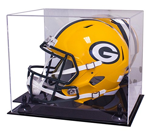 Deluxe Helmet Display Case (Deluxe Acrylic Football Helmet Display Case with Black Risers and Mirror (A002-BR))