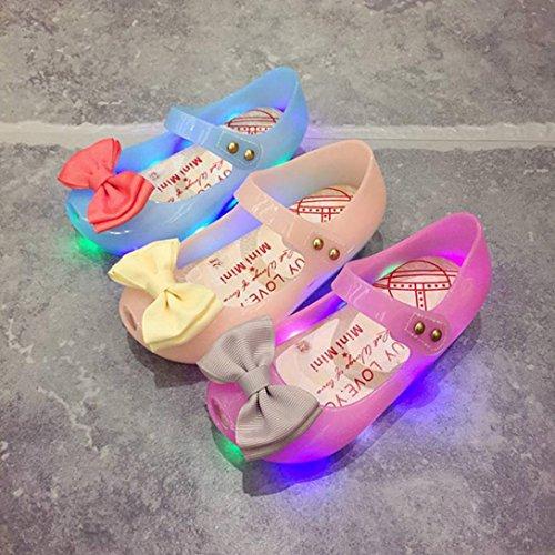 Vovotrade El niño lindo del niño embroma las sandalias luminosas de la jalea encendidas Suave-Soled princesa Zapato Azul