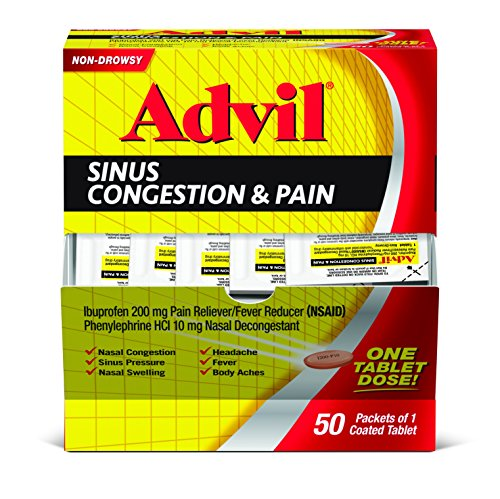 Advil Sinus Congestion & Pain (50 Count) Pain Reliever/Fever Reducer Coated Tablet, 200mg Ibuprofen, Nasal Decongestant, Sinus Pressure - Non Drowsy Decongestants