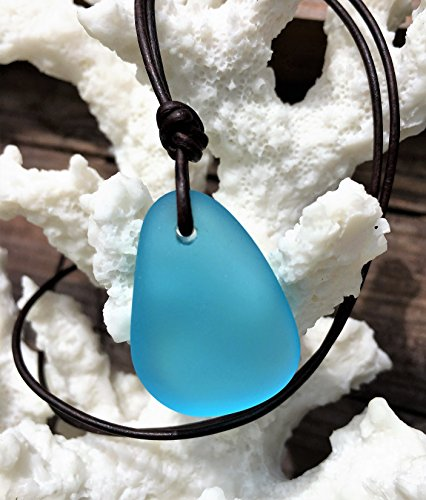 Aqua and Dark Brown Handmade Leather Sea Glass Necklace, NAUTICAL SEA GLASS, Aqua and Dark Brown Leather Sea Glass Necklace, Sea Glass Jewelry, Leather Jewelry Aqua, Unisex Necklace, Man Jewelry
