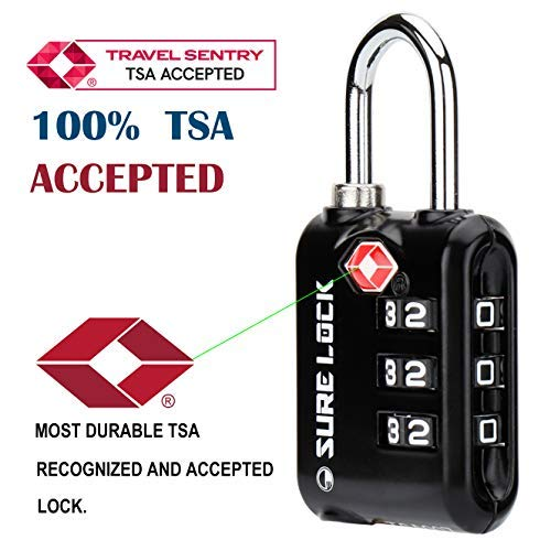 SURE LOCK TSA Approved 3 Digit Luggage Locks With Zinc Alloy Body and Hardened Steel Shackle To Lock Travel Suitcase (BLACK 4 PACK)