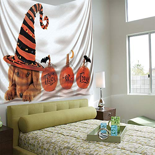AngelSept Wall Tapestry Decorative Art Prints can be Hung on The Bedside of Dormitory,Halloween,Cute Puppy Wearing a Witch Hat Trick or Treat Little Bats Festive Funny,Orange Black Brown