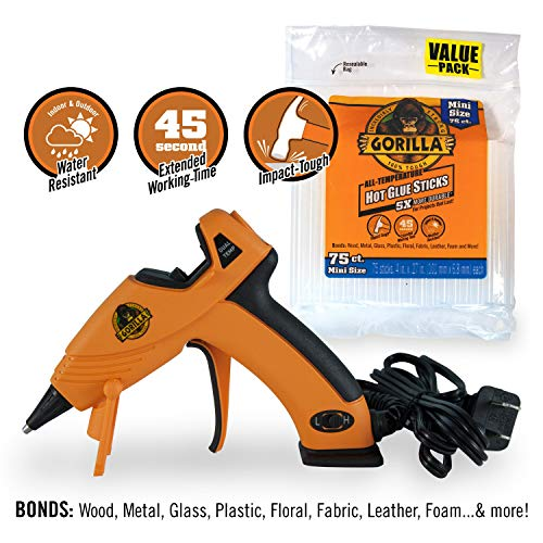 Gorilla 8401515 Hot Glue Gun and Sticks, 75 ct (Hot Melt Glue Gun)