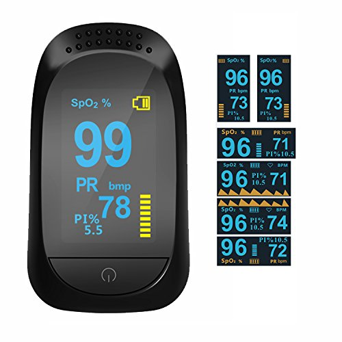 Fingertip Pulse Oximeter with Plethysmograph and Perfusion Index Measures SPO2 Finger Blood Oxygen Saturation Monitor, Perfusion Index, Pulse Rate,Mini Portable Size for Children,Adults by Glorified Mary (Image #7)