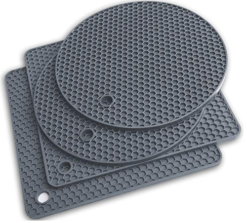 Q's INN Gray Silicone Trivet Mats Hot Pot Holders Drying Mat. Our potholders Kitchen Tool is Heat Resistant to 440°F…