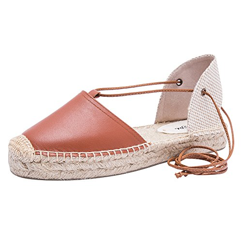 rismart Fashion Casual Brown Sling Lace Leather Flats Back Sandals Up Women's fxCgr0wtqf