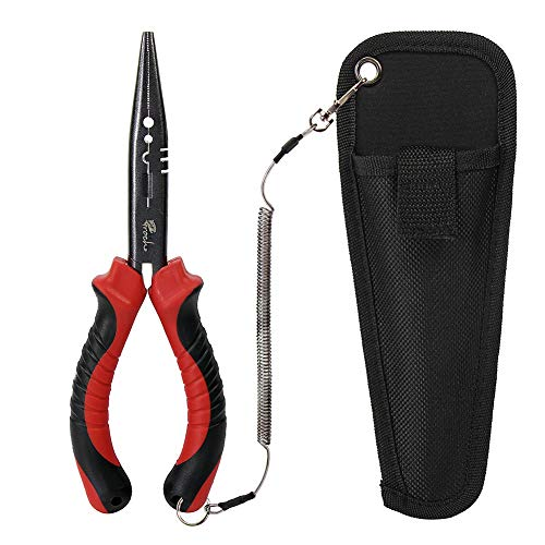 Croch Multifunction Stainless Steel Fishing Pliers Braid Cutters Hook Remover Fish Holder with Sheath and Lanyard