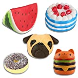 Cream Scented Bread Squishies Slow Rising Squishy Toy Series Cute Anime Keychain Stress Reliever Watermelon Cake Doughnut Pug Dog Desk Decoration Bedside
