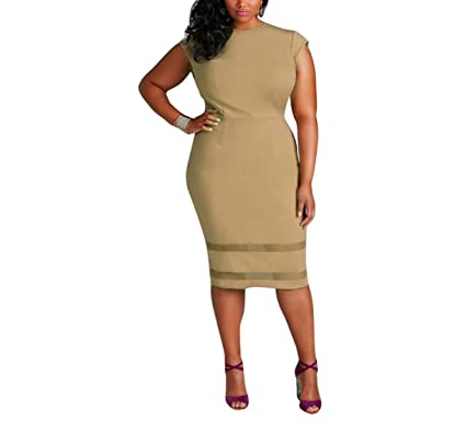 91b4afd7b2e BSGSH Women Plus Size Design Solid Sleeveless Gauze Splice Party Mini Dress  (XXXL