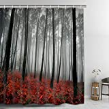 red bathroom ideas Mystic Forest Bathroom Curtain Durable Bath Curtain Bathroom Accessories Ideas Kitchen Window Curtain Farmhouse Country Home Woodland