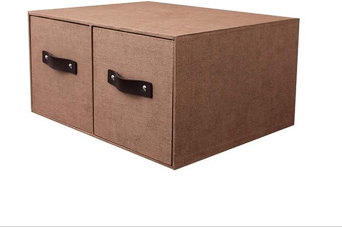 RANGSTOCKRR Cajas de Almacenamiento con Tapa y asa Cajón Doble Caja de Almacenamiento de cartón Plegable Caja de Almacenamiento Ropa Libros Cosméticos Juguetes (Color : Marrón): Amazon.es: Hogar