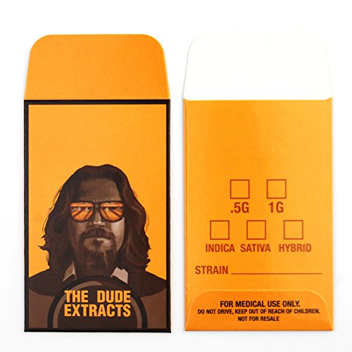 100 The Dude Extracts Concentrate Retro Stoner Movie Style Shatter Envelopes #089 by Shatter Labels