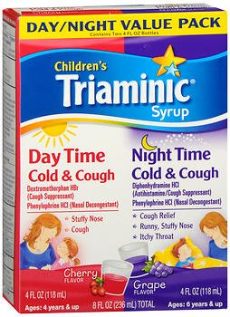 Triaminic Children's Syrup Day Time/Night Time Cold & Cough Cherry Flavor & Grape Flavor - 8 oz, Pack of 3
