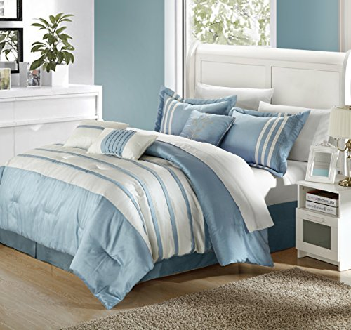 Perfect Home Tory Pleated Piecing Luxury Bedding Collection 11-Piece Comforter Set, Bedskirt, Shams, Sheet Set and Decorative Pillows Included (Queen, Blue) ()