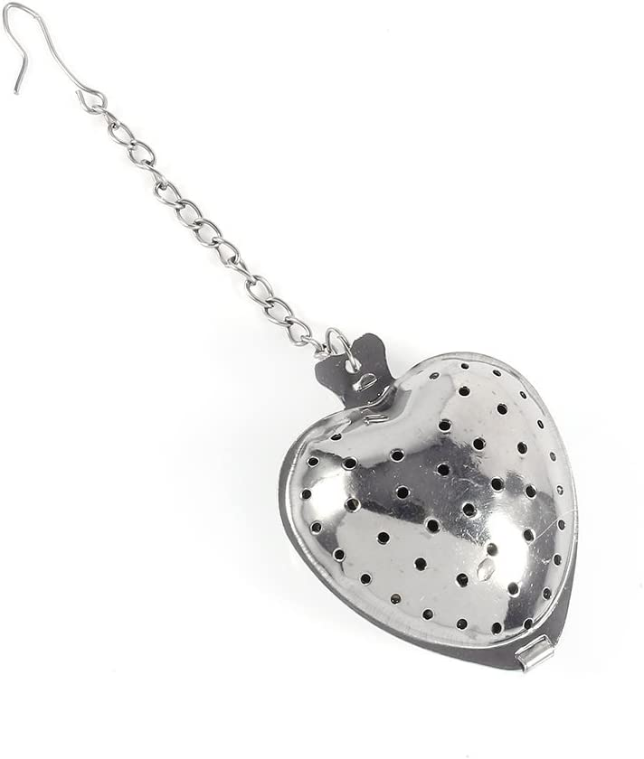 4pcs Stainless Steel Tea Infuser Tea Brewer Diffuser Tea Filter Tea Sieves Heart Shape with Chain
