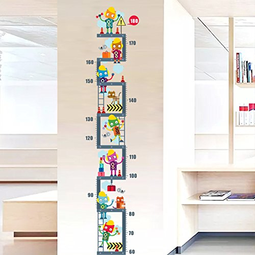 Amaonm Removable DIY PVC Cartoon Anime Characters Robot Climb The Stairs Kids Height Measure Ruler Nursery Growth Chart Wall Stickers Murals Home Walls Decor Art for Bedroom Living Room (Robot)