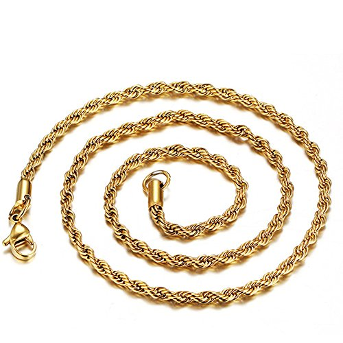 3mm Womens Mens Stainless Steel/18K Gold Plated Twisted Rope Chain Necklace,18