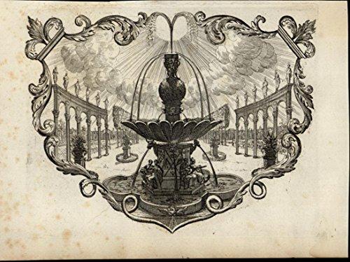 (Ornate Fountain Columns Statues Saints Cross 1705 wonderful rare antique print)