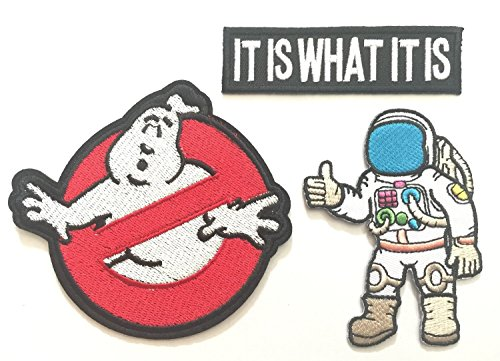 Super save pack set patch of Iron on Patches #8, Ghostbusters-No Ghosts Patch, Astronaut Patch, It is what it is Patch Embroidered Iron On / Sew On Patches for Jeans,Prime Patches by BossBee