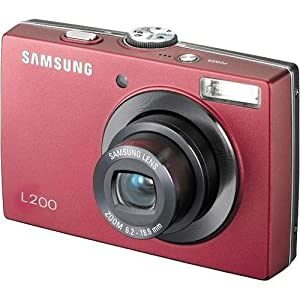 samsung l200 10mp digital camera with 3x optical zoom red