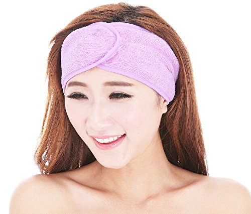 Cool Face Makeup (Cool-cane Superfine Fiber Magic Tape Spa Bathing Make up Wash Face Cosmetic Headband Hair Band Bow Headband (purple))