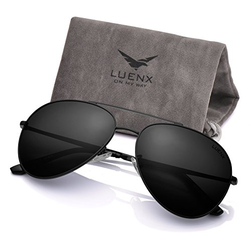 393b1f63b355a LUENX Aviator Sunglasses Men Women Polarized UV400 Metal Frame - Import It  All