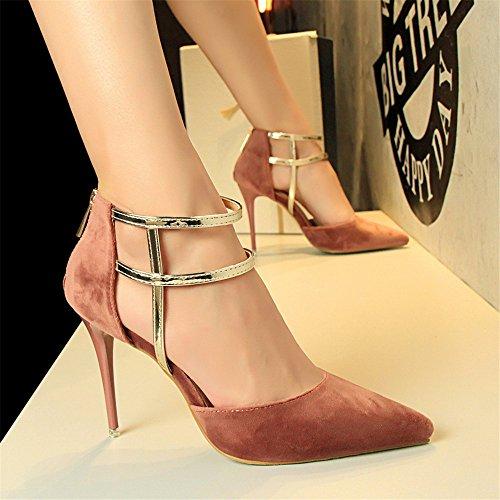 z&dw Estilo sexy show Slim tacones altos tacones ante boca superficial puntiagudos sandalias huecas Rosa