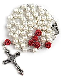 6mm Glass Pearl Beads Catholic Rosary with Lourdes Center Piece