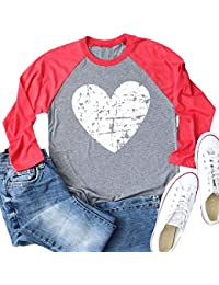 Womens Love Heart Raglans T-Shirts Casual Long Sleeve Valentine's Day Graphic Tees Tops